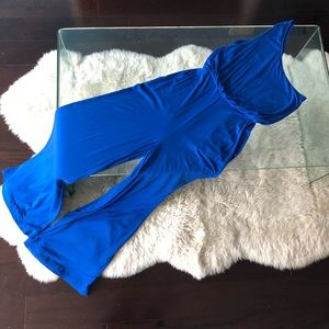 Guess one shoulder sleeveless blue jumpsuit